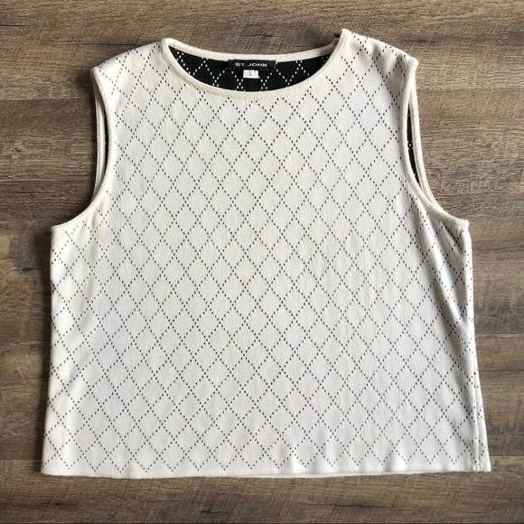 St. John Tops - St. John Knit White Black Diamond Print Tank Top L